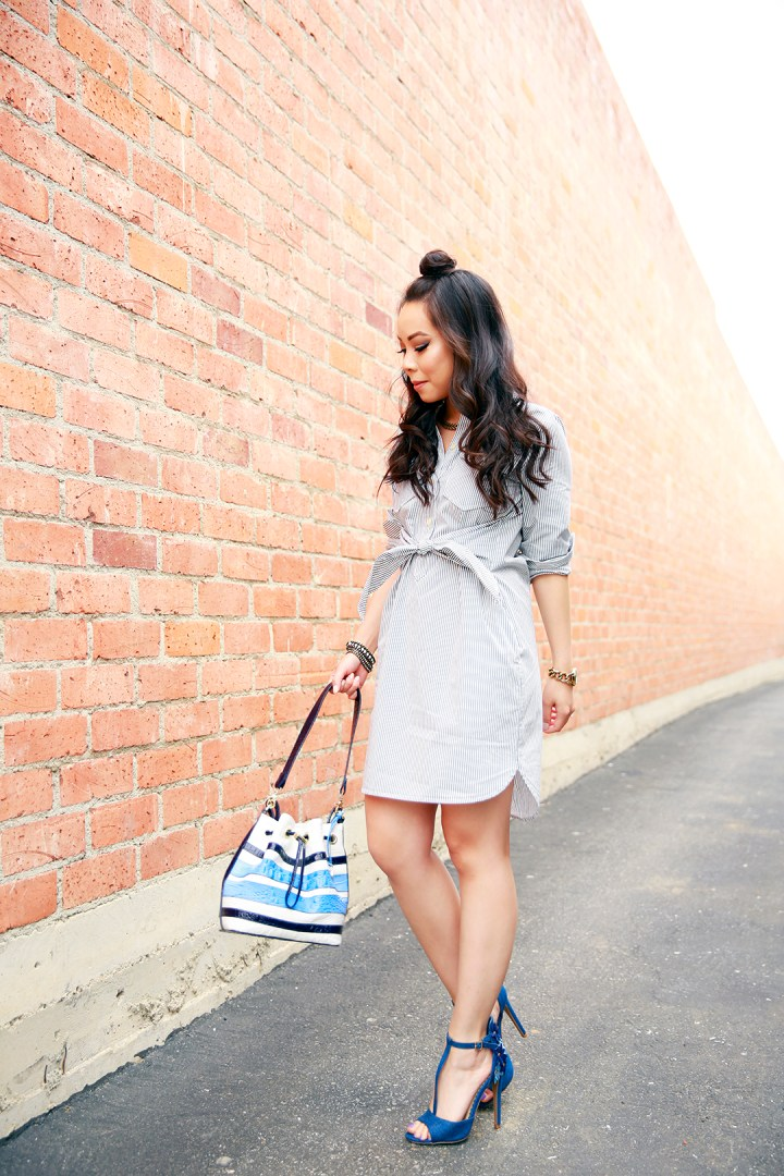 An Dyer in a Samurai Bun wearing Madewell Shirtdress