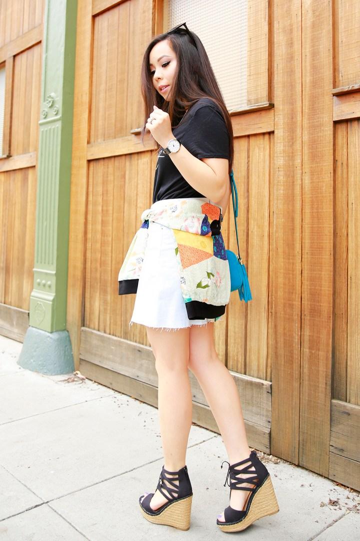 An Dyer wearing Hudson Denim Skirt and Mari A Evie Wedge