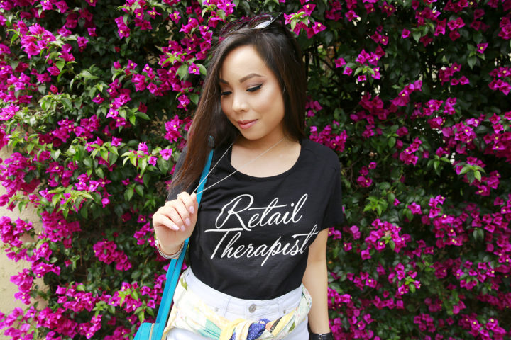 An Dyer wearing Signorelli Retail Therapy T-Shirt