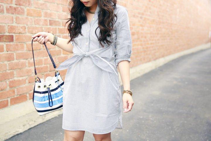 Madewell tie front waist shirt dress, Brahmin Maxine Blue Stripe Bucket Bag
