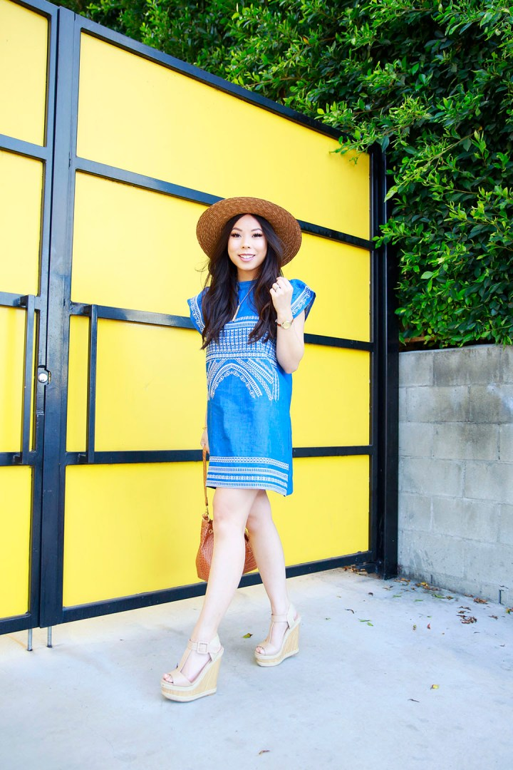 An Dyer wearing Boater Hat, Chicwish Denim Dress Embroidered with ShoeDazzle Nude Wedge Platform Sandals