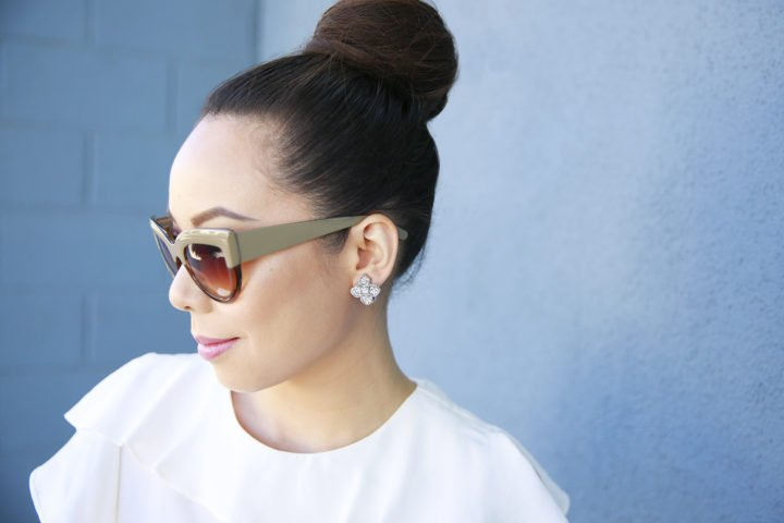 An Dyer wearing Charming Charlie floral clip on earrings