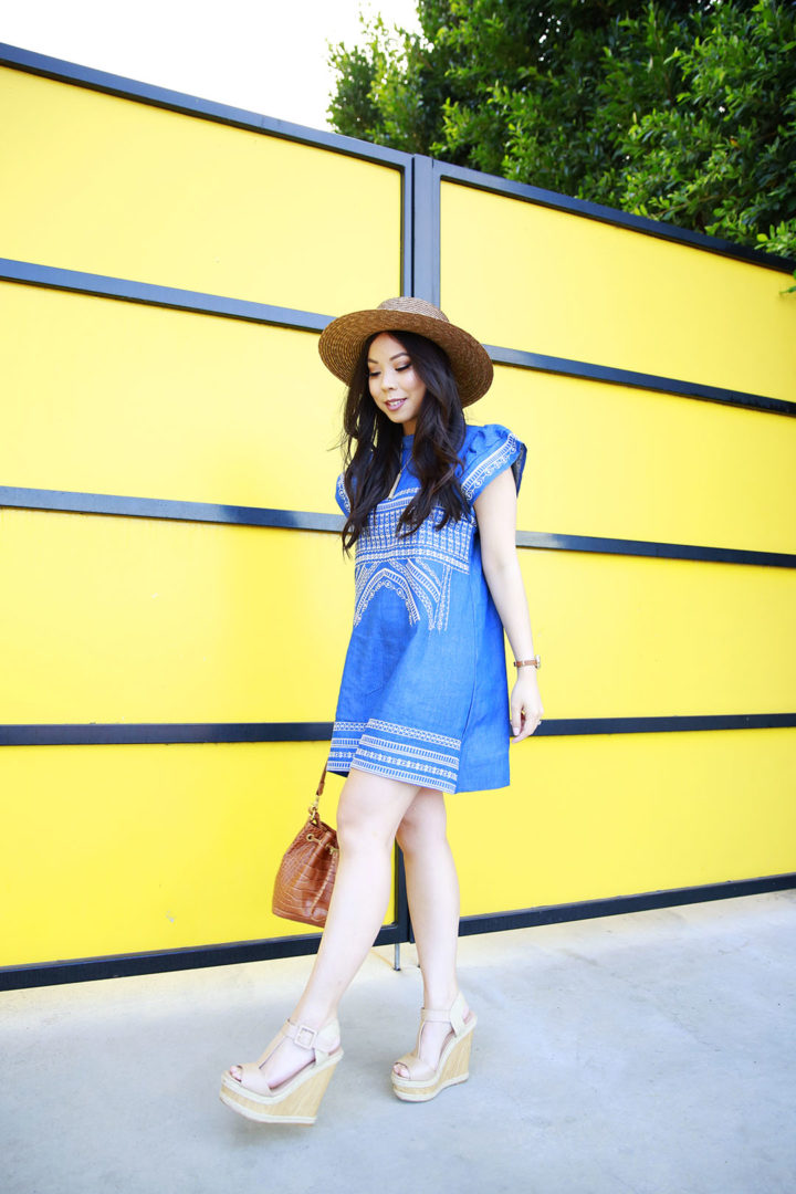 An Dyer wearing Chicwish Denim Dress Embroidered with ShoeDazzle Nude Wedge Platform Sandals