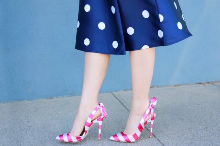 An Dyer wearing ShoeDazzle Pink Stripe Bow Slingback Pumps
