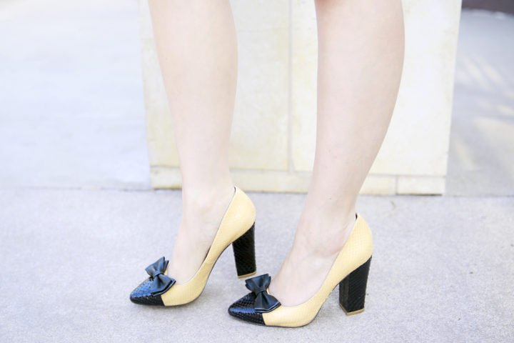 An Dyer wearing Shoes of Prey Chunky bow heels