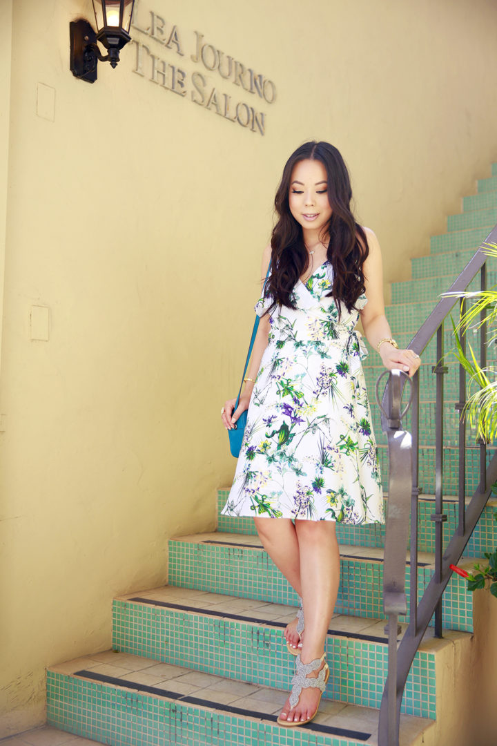 An Dyer wearing Amour Vert Floral Dress at Beverly Wilshire