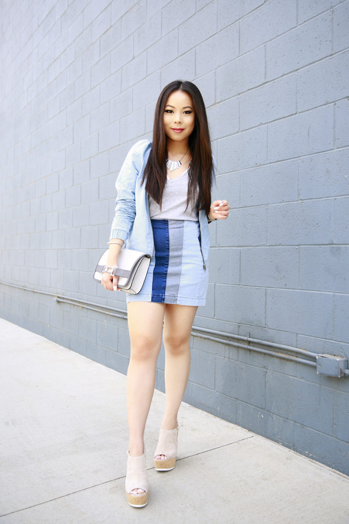 An Dyer wearing Guess Patchwork Denim Skirt with Platforms