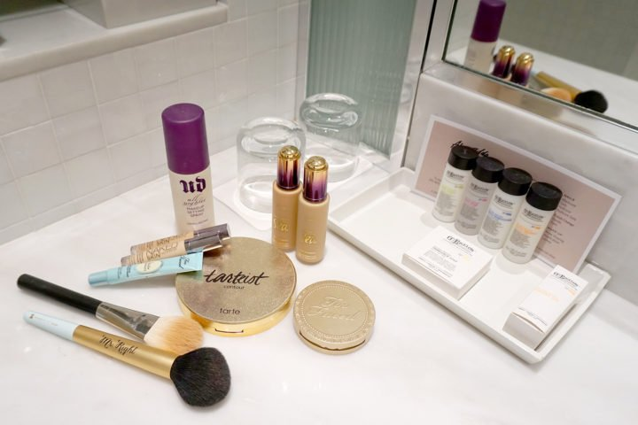 The London WeHo Beverly Hills Bathroom Toiletries with Urban Decay, Tarte Cosmetics and Too Faced