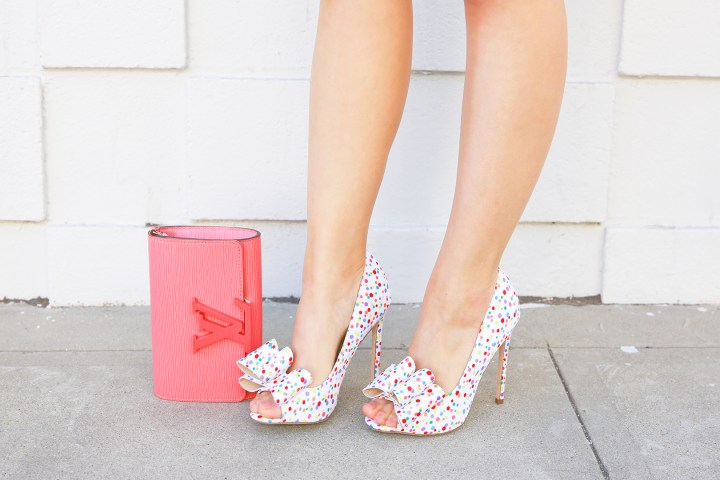 An Dyer wearing ASOS polka dot bow pumps with Louis Vuitton Louise Corail