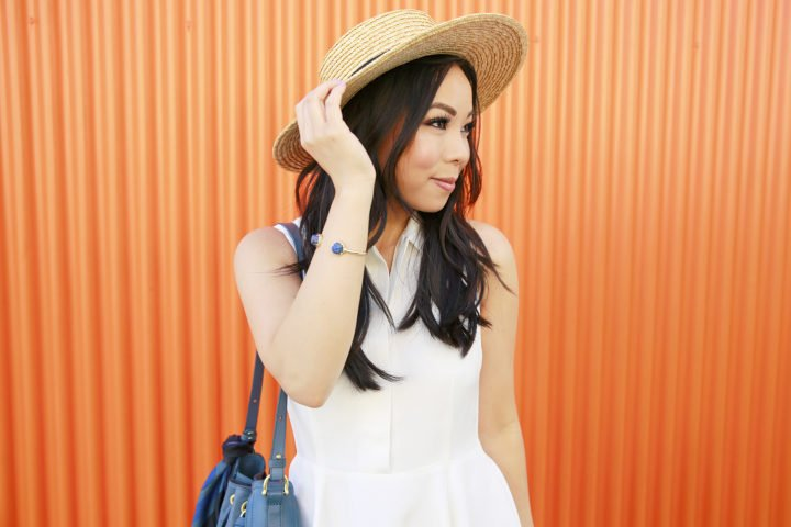 An Dyer wearing Kendra Scott BRINKLEY BRACELET IN RAW CUT LAPIS