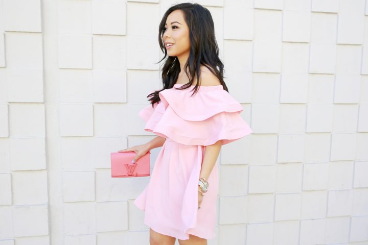 An Dyer wearing Pink Off Shoulder Chicwish Dress with Louis Vuitton Louise Corail