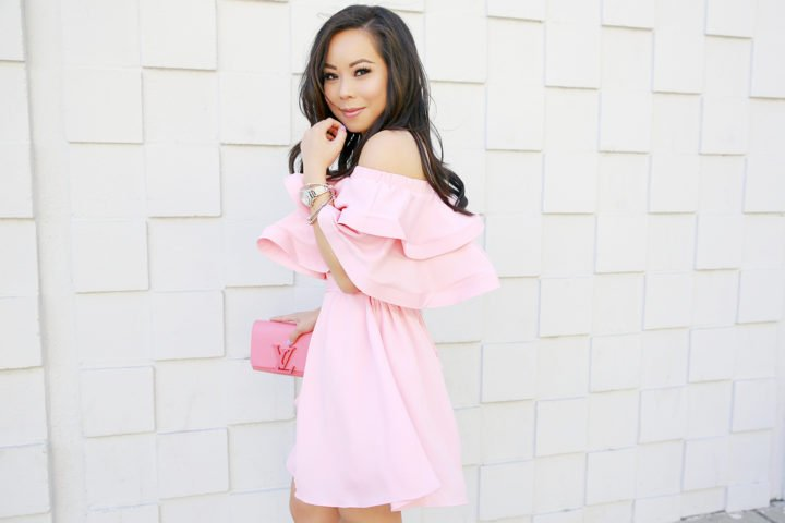 An Dyer wearing Ruffly Off Shoulder Chicwish Dress with Louis Vuitton Louise Corail