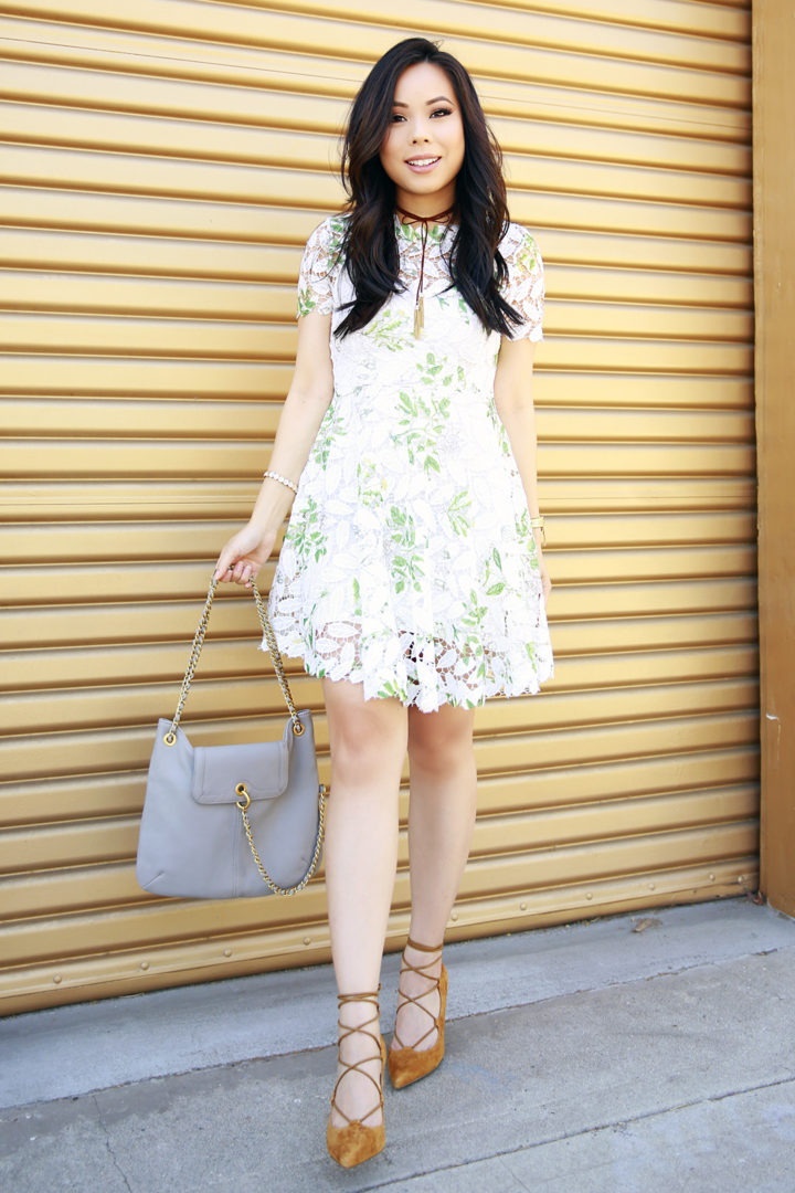 An Dyer wearing Bauble Bar Suede Choker, Chicwish Dress, Sole Society Lace Up Shoes