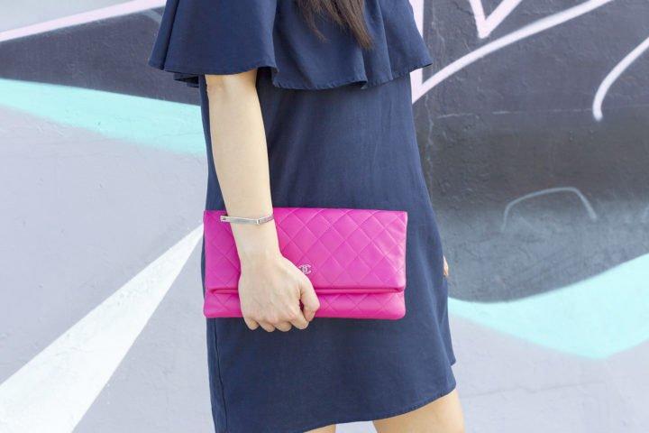 an-dyer-wearing-wanderlust-d-bar-bracelet-chanel-hot-pink-quilted-foldover-clutch
