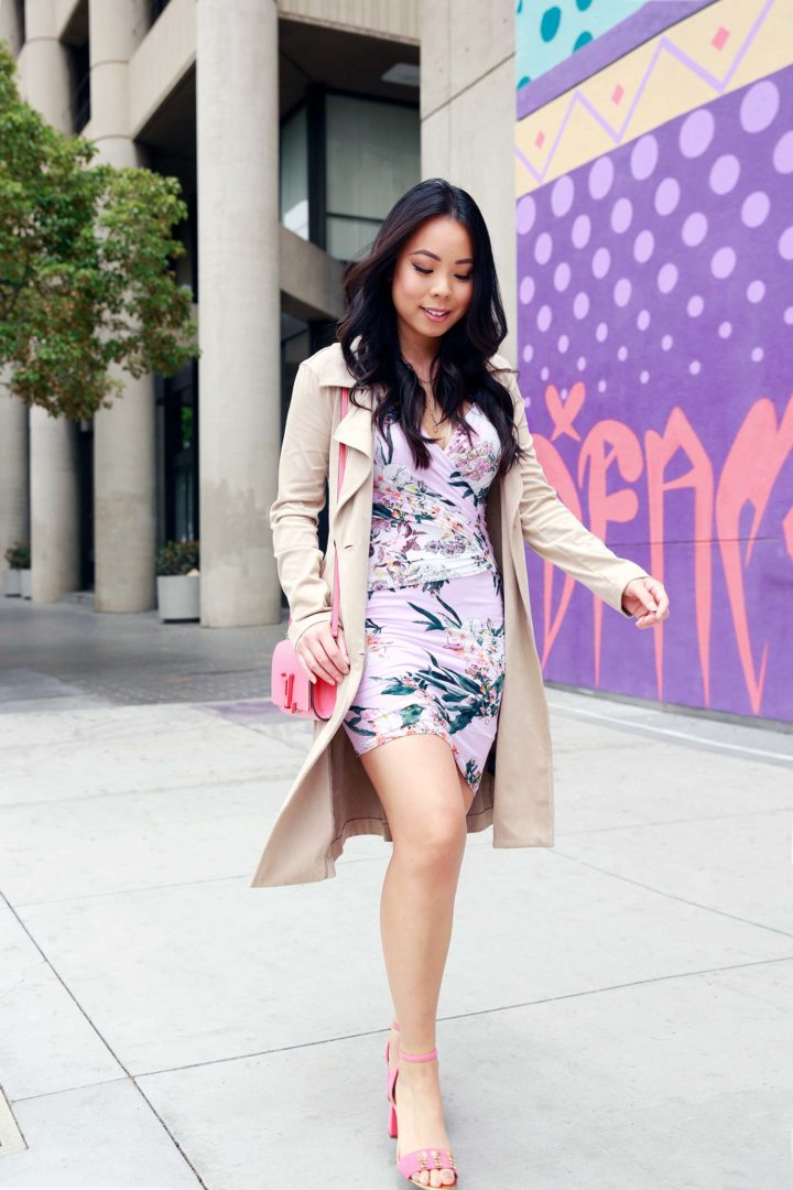 Fashion Blogger An Dyer wearing Guess Tropical Summer Date Dress with Eva Longoria Collection Trench Coat, Louis Vuitton Bag, Talbots Pineapple Sandals