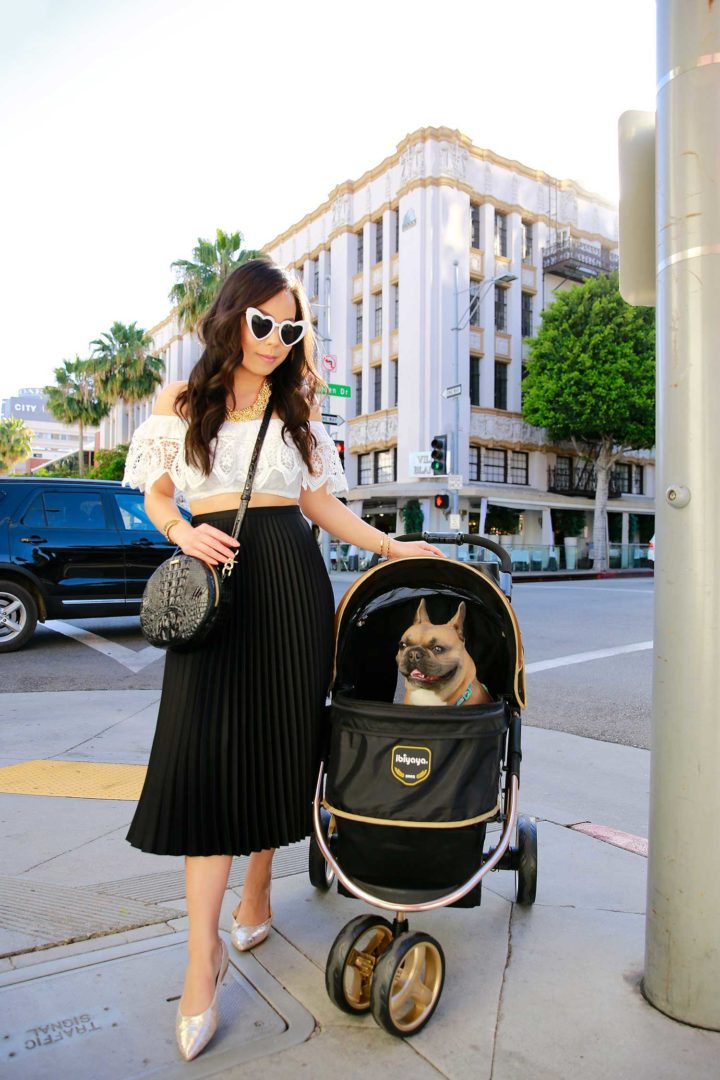 Lifestyle Fashion Blogger An Dyer White Heart Cateye Sunglasses Diesel Dyer Frenchie French Bulldog Dog Stroller Beverly Hills