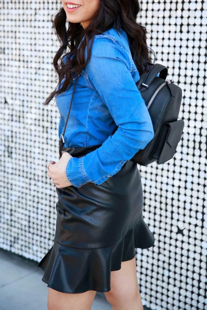 LA Fashion Blogger An Dyer wearing western street style denim shirt faux leather backpack bag