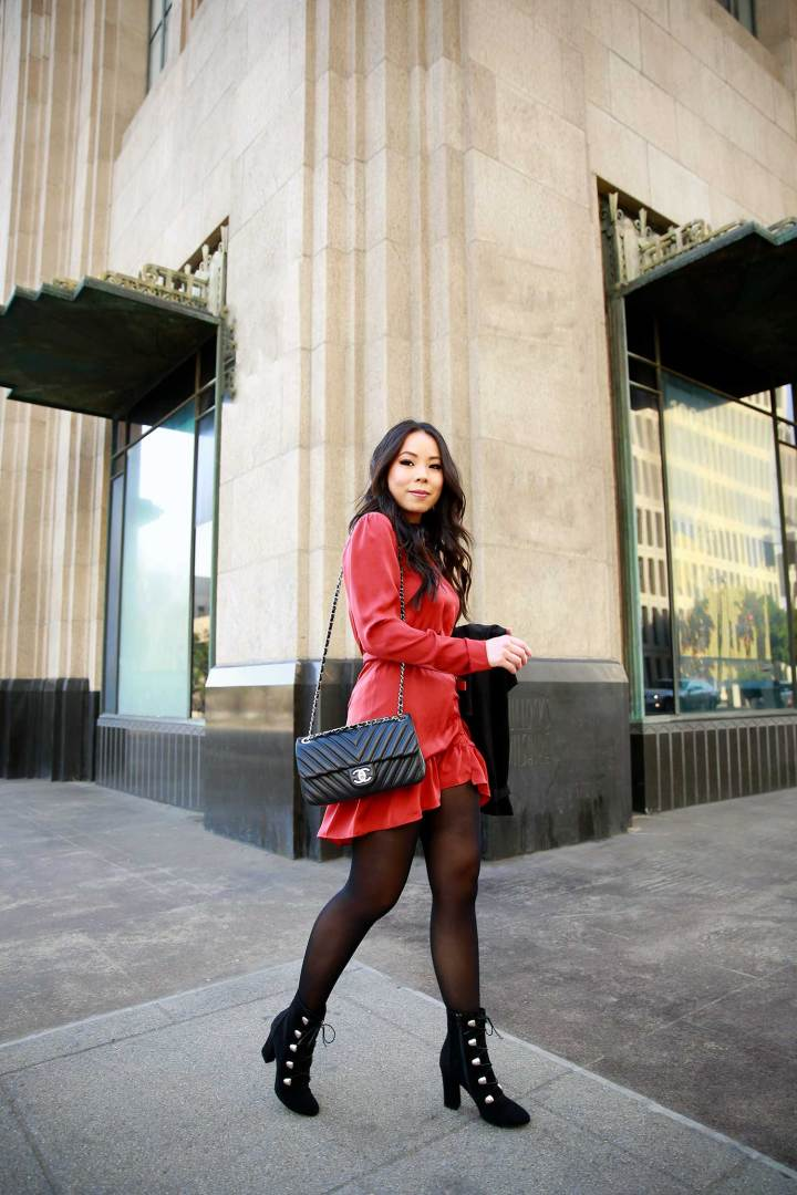 Lifestyle Fashion Blogger An Dyer wearing Holiday Dress Outfit Idea with Chanel Bag