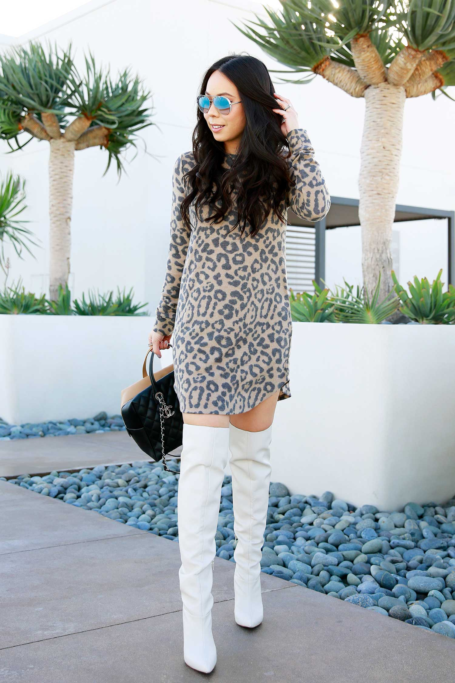 e3702e5ca4f1e Guess Aviator Sunglasses and Over The Knee Boots   Forever 21 Leopard Print Sweater  Dress   Chanel Bicolor Bowler Bag (similar pre-owned)