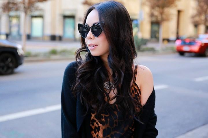 Vietnamese Asian American Street Style Fashion Blogger An Dyer wearing Leopard Slip Dress with Chanel Clutch