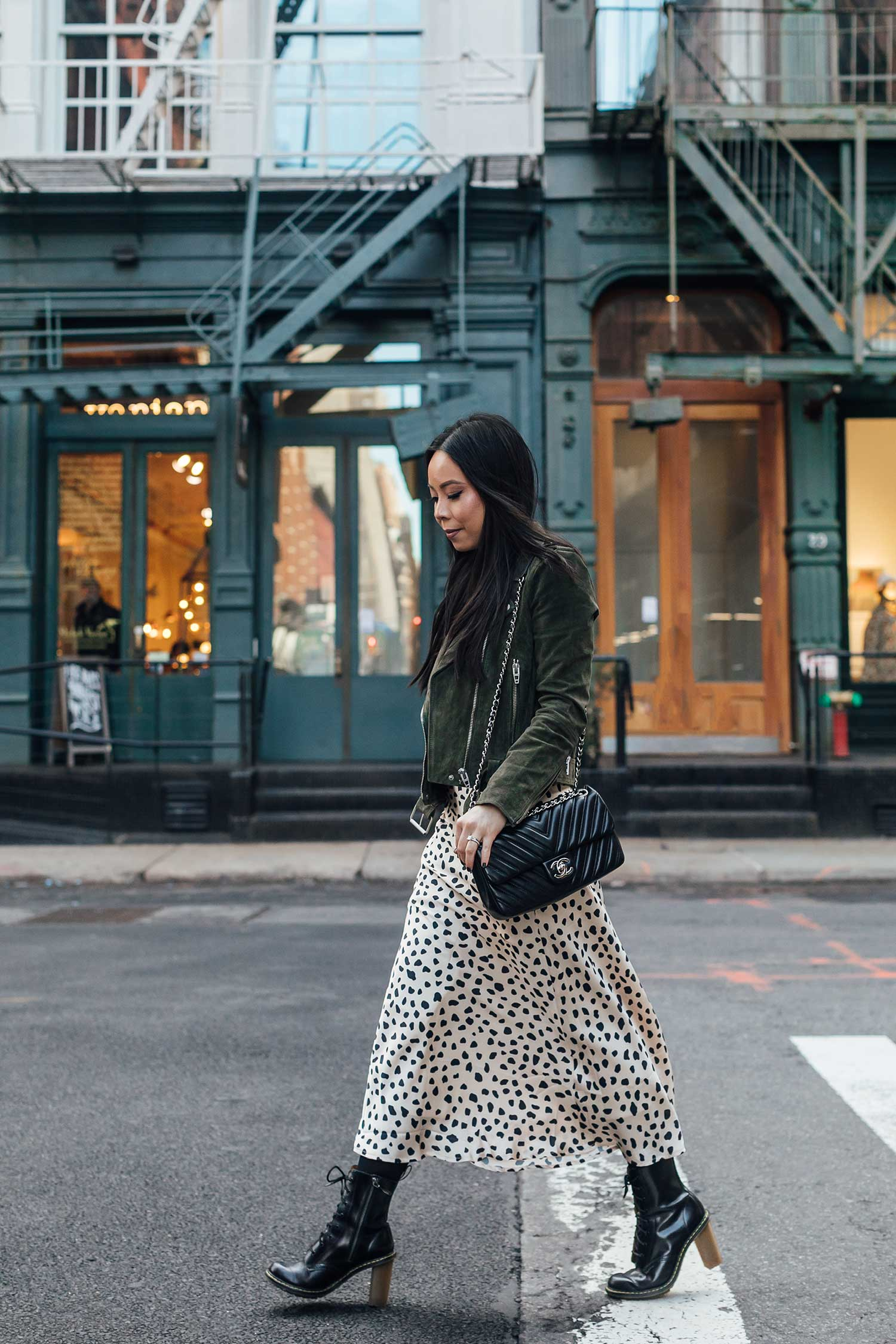 60d0ec83a5a1 Blank NYC Suede Moto Jacket in Herb | Lululemon Swiftly Tech Long Sleeve  Crew | Chanel Chevron Bag | Lovers Friends Madalena Midi Skirt (borrowed  from Sydne ...