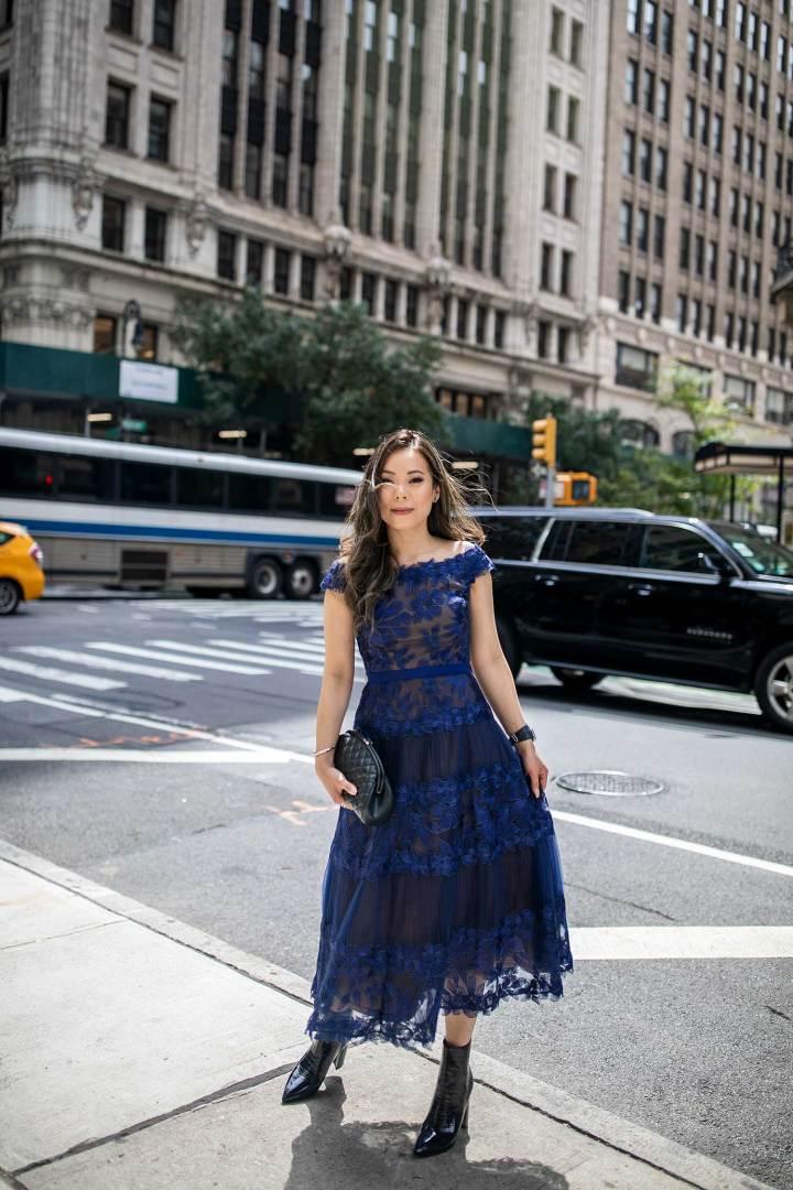 NYFW Vietnamese Asian American Blogger An Dyer wearing Tadashi Chanel Timeless by Reuben Luke