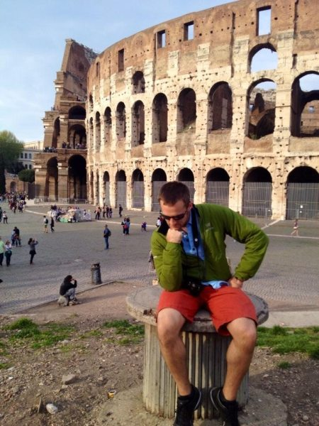 """The Thinker"" pose by the Colosseum. Haha!"