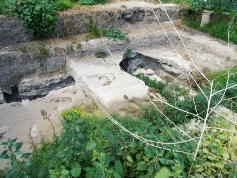 An excavation site inside the Roman Forum.