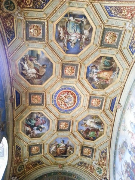 The ceiling inside Raphael's Rooms.