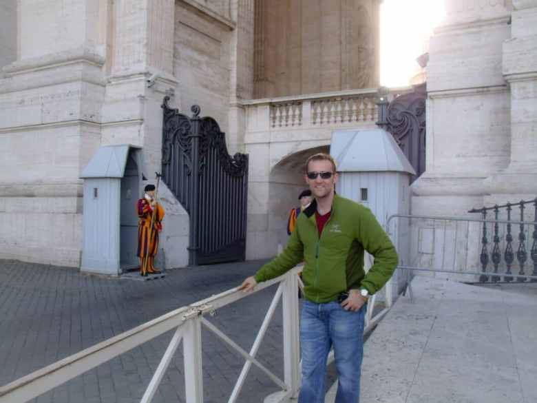 The Swiss Guards are guarding the only outdoor entrance to the Sistine Chapel (and my husband wanted a picture by them).