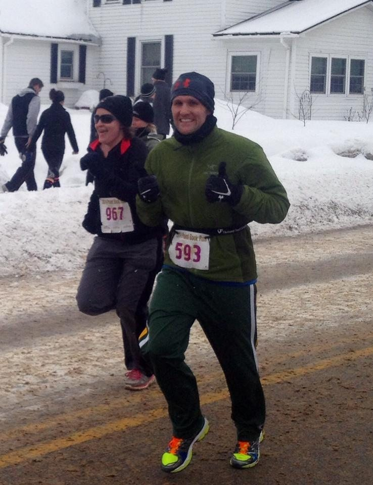 My husband running the Point Bock Run last year. It was the coldest year ever for the race!