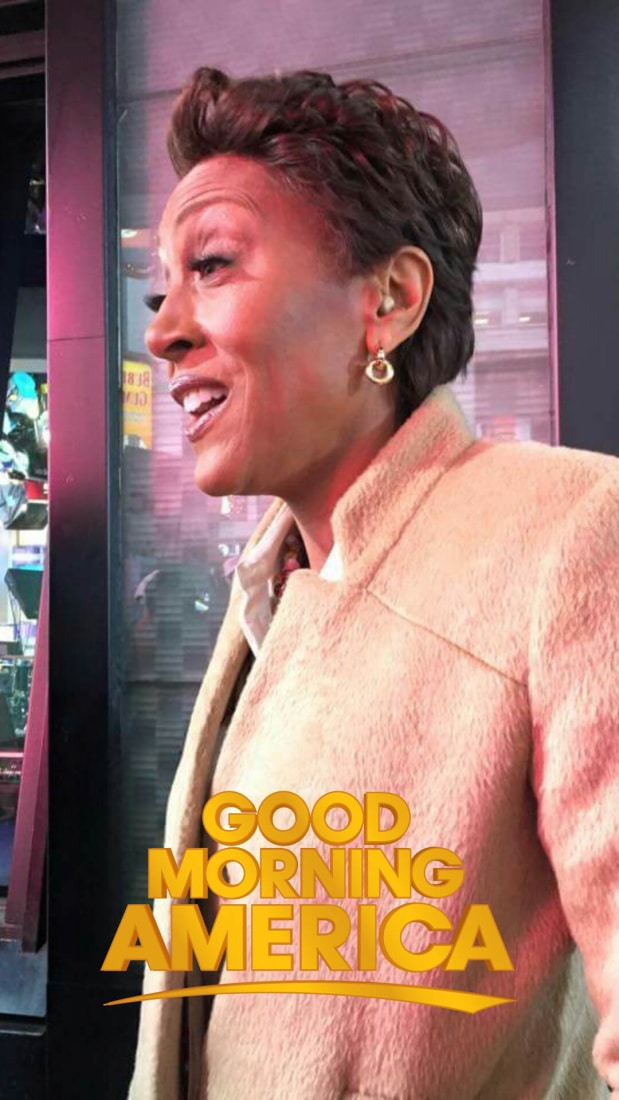 An up-close snapchat of Robin Roberts.