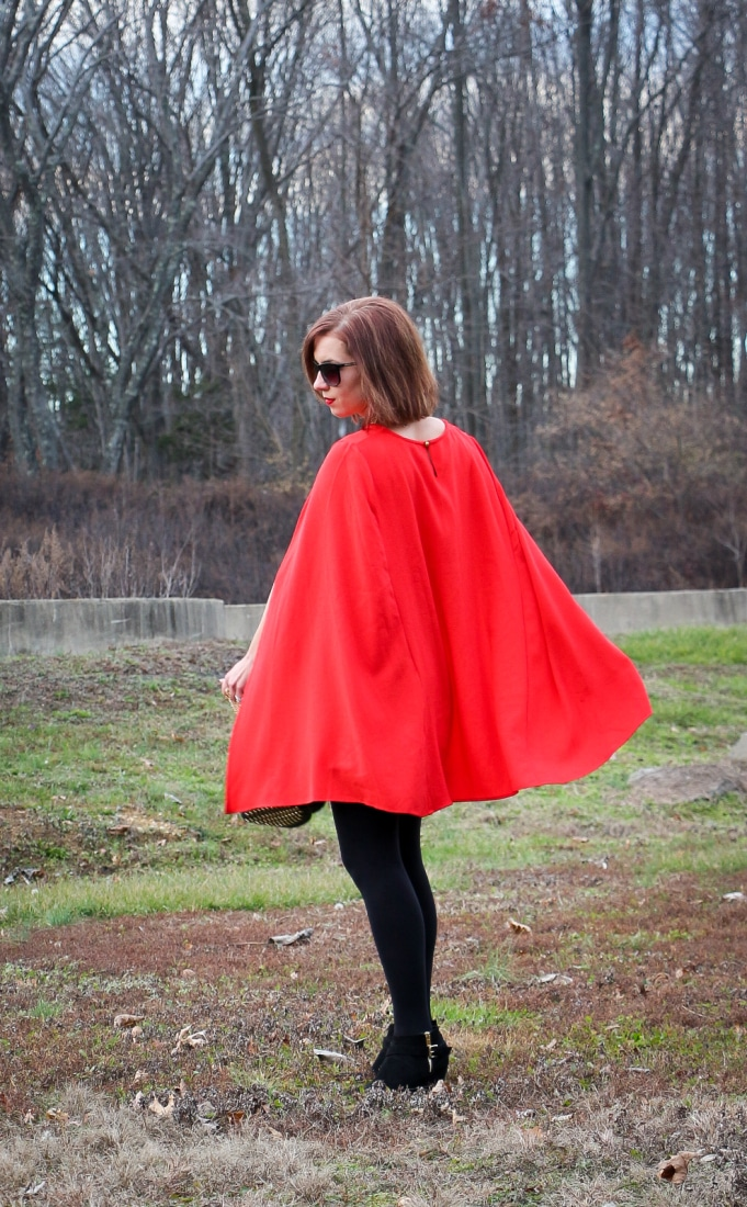 Shein Red Cape - back