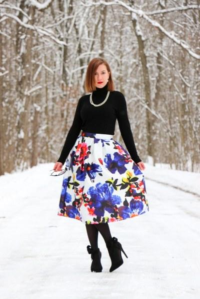 Shein Floral Midi skirt