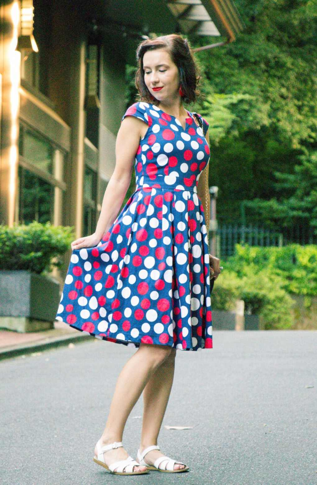 Retro polka dot midi dress