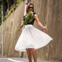 Shein eyelet white midi skirt