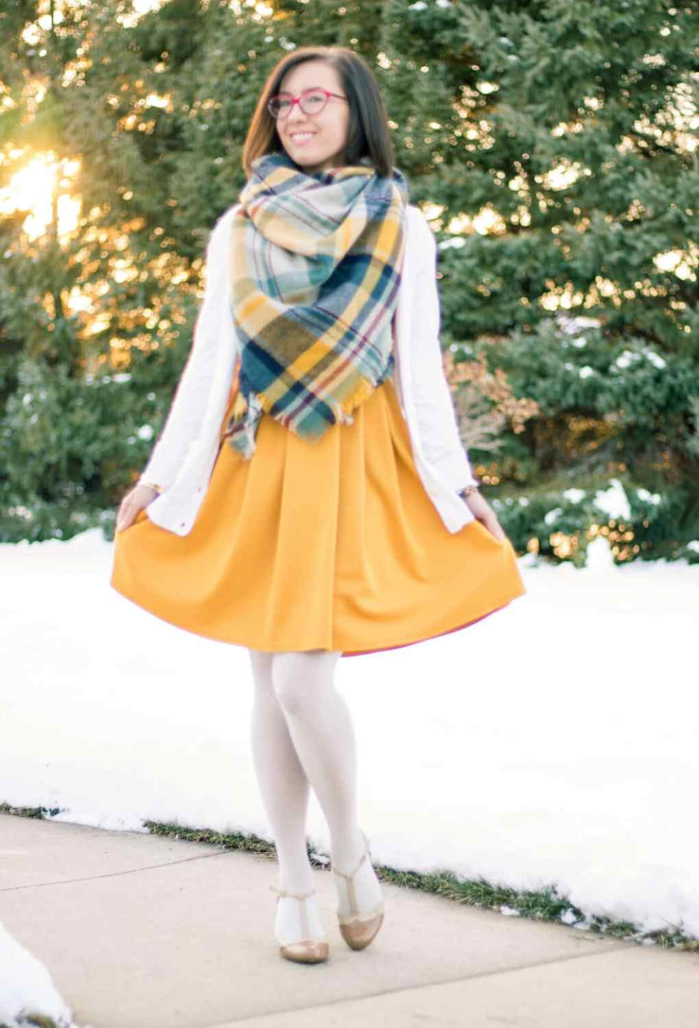 Yellow blanket scarf ModCloth dress