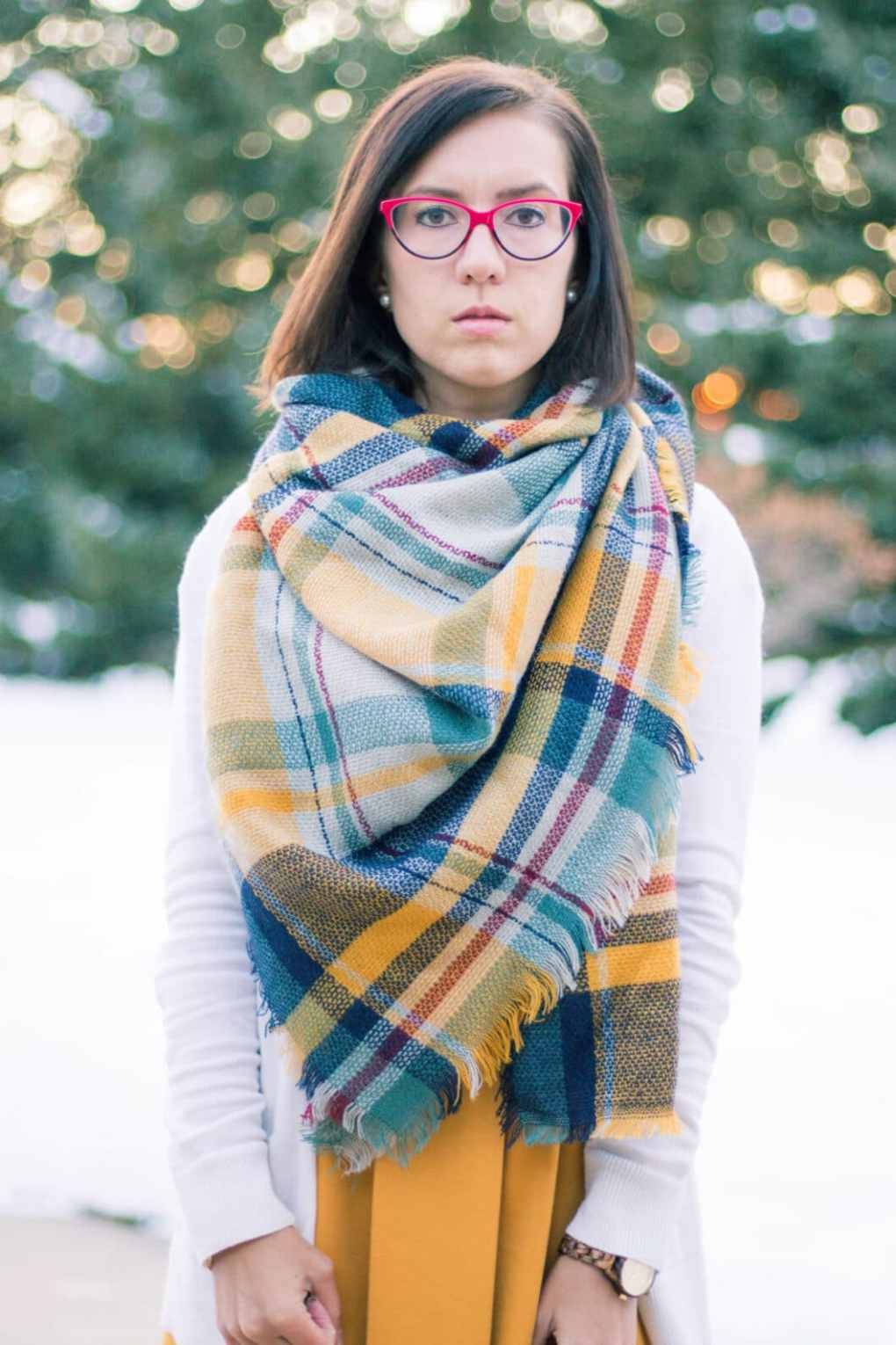 yellow and navy blanket scarf