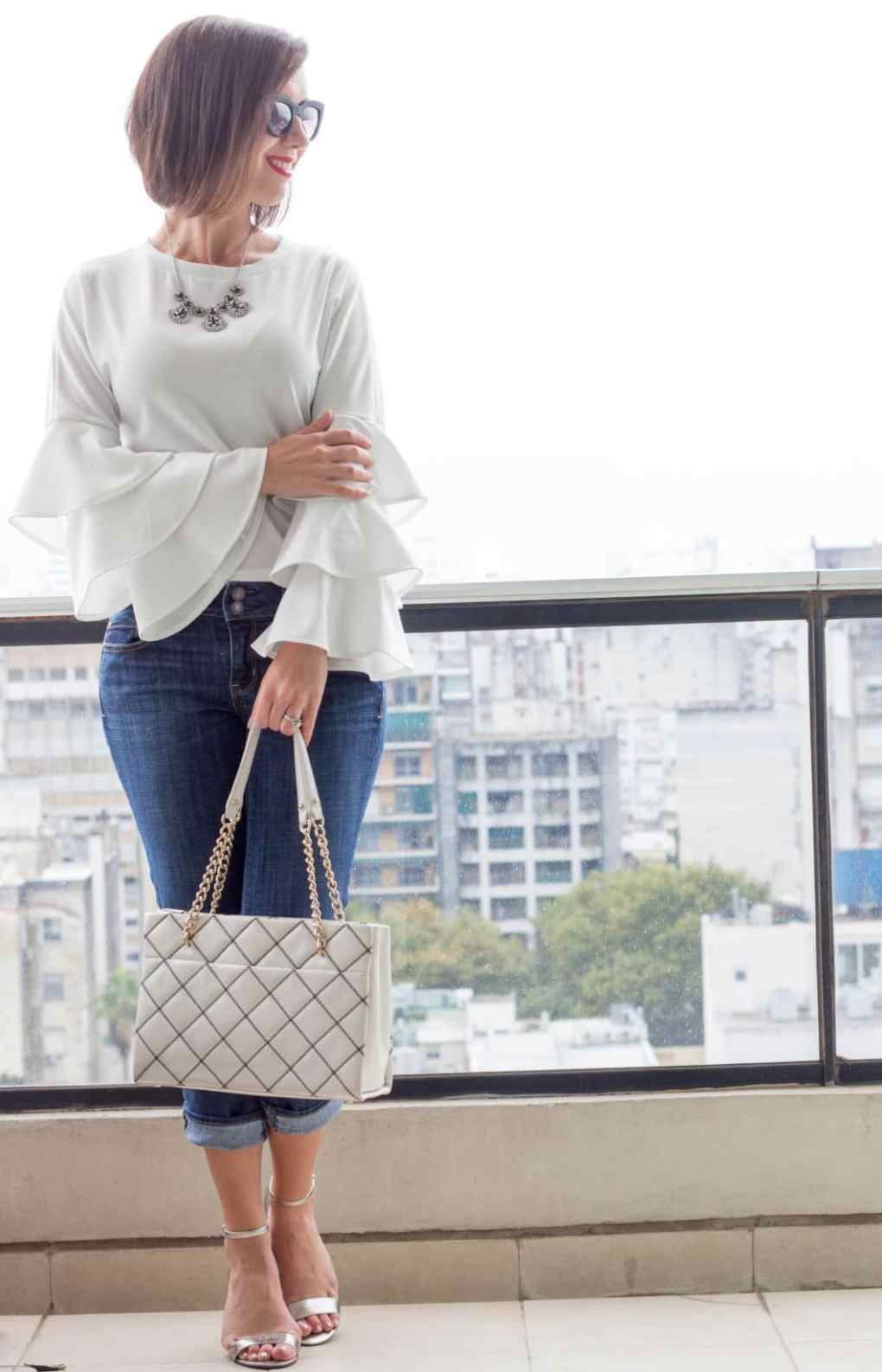 Shein dramatic sleeves white top