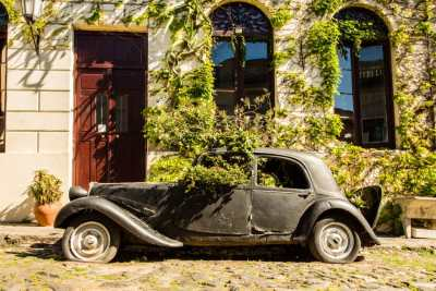 Colonia del Sacremento old car with flowers growing out of it
