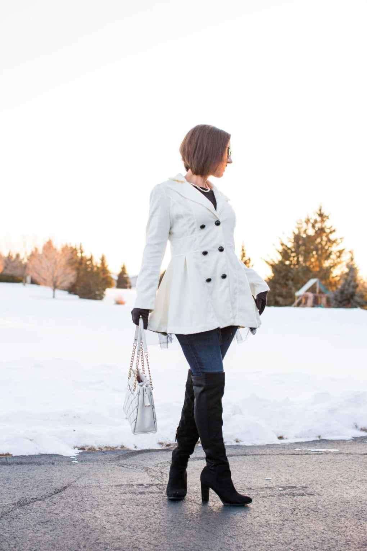 white Shawl Collar Long Sleeve Wool-Blend Coat