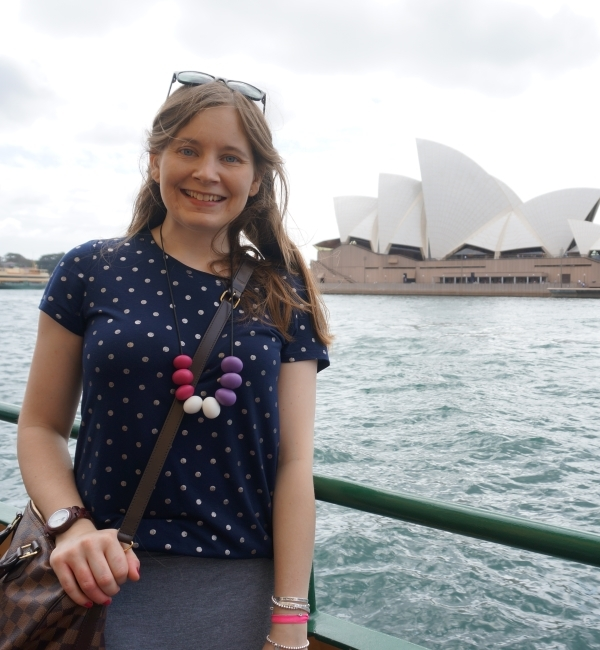 awayfromblue polka dot tee nibbly bits abacus necklace speedy bandouliere sydney opera house from ferry