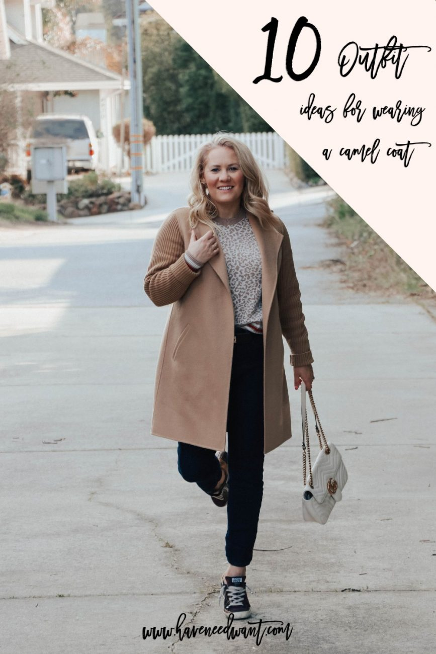 10 outfit ideas for wearing a camel coat. Head to the blog for my styling tips on how to wear a camel coat. #stylingtips #howtostyle #outfitinspo #camelcoat #winterfashion