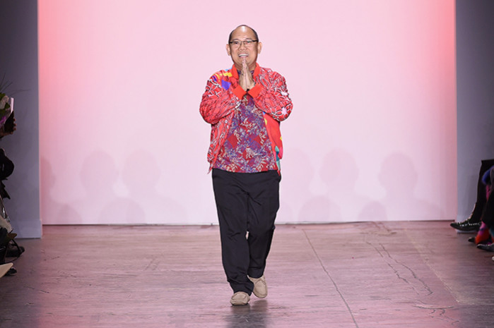 NEW YORK, NY - FEBRUARY 07:  Designer Zakaria Hamzah of Alleira Batik walks the runway for the Indonesian Diversity FW19 Collections: 2Madison Avenue, Alleira Batik, Dian Pelangi and Itang Yunas fashion show during New York Fashion Week: The Shows at Industria Studios on February 7, 2019 in New York City.  (Photo by Yuchen Liao/Getty Images for Indonesian Diversity)