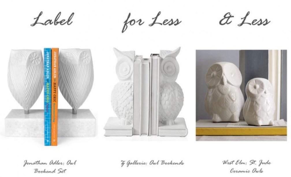 label for less owl shelf decor