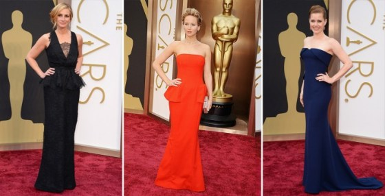 Julie Roberts in Givenchy Haute Couture, Jennifer Lawrence in Dior Couture, Amy Adams in Gucci.
