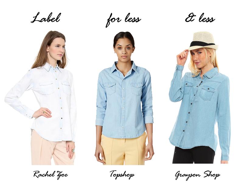 Label for Less, Chambray, Chambray top, Grayson Shop, Topshop, Rachel Zoe