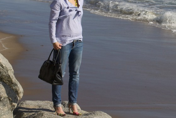 Bow Blouse, Distressed Denim, Santa Cruz, Beach, Weekend wear