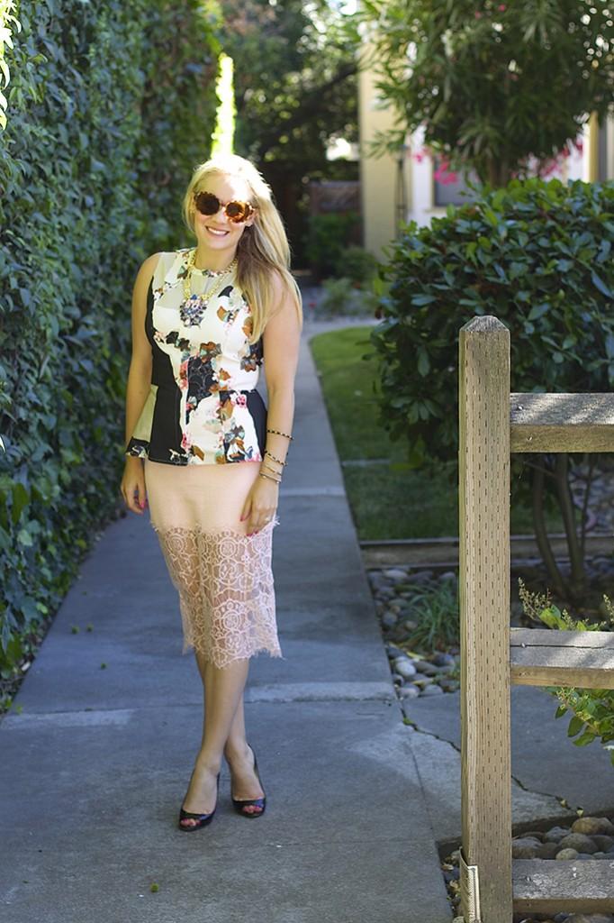 peach lace, illusion hemline skirt, lace skirt, astr