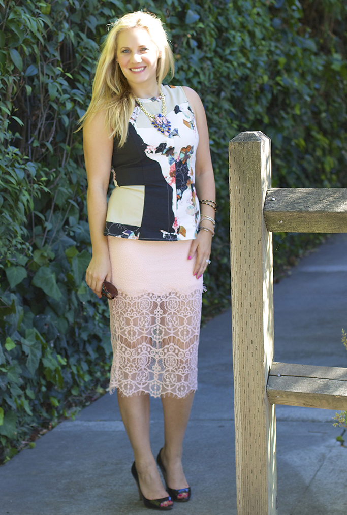 peach lace, illusion hemline skirt, lace skirt, astr
